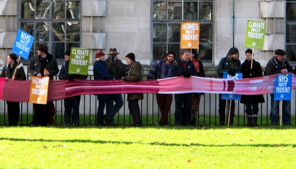 protesters at the Anti-Trident peace scarf protest
